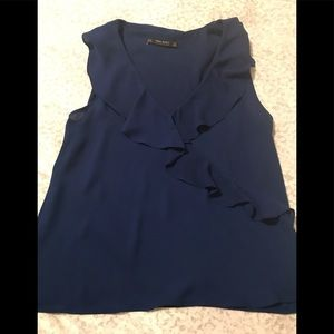 Zara Royal Blue Ruffle Top